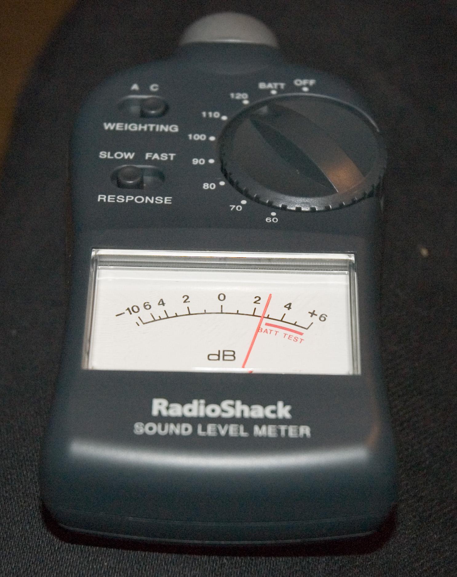 Radioshack analog meter @ 123dB C-weighted slow